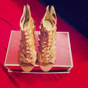 Just Fab camel caged wedges